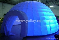 Inflatable lighting igloo dome tent at night