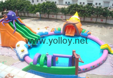 inflatable water park toys inflatable slide with pool water sport for summer 1
