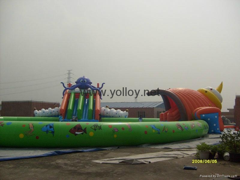 inflatable water park toys inflatable slide with pool water sport for summer 3