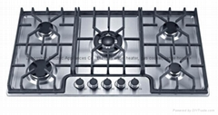 Gas Hob With 5 Burners and SS Mat  Panel, 220v Electricity Ignition (GH-S995C)