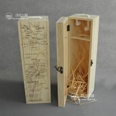 單支翻蓋紅酒木盒
