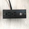 美式接線排插嵌入式USB充電板2位美標延長插板桌面插座 2