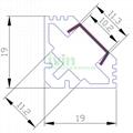 led light alu bar, led corner profile for wall solution,90° led aluminum profile 3