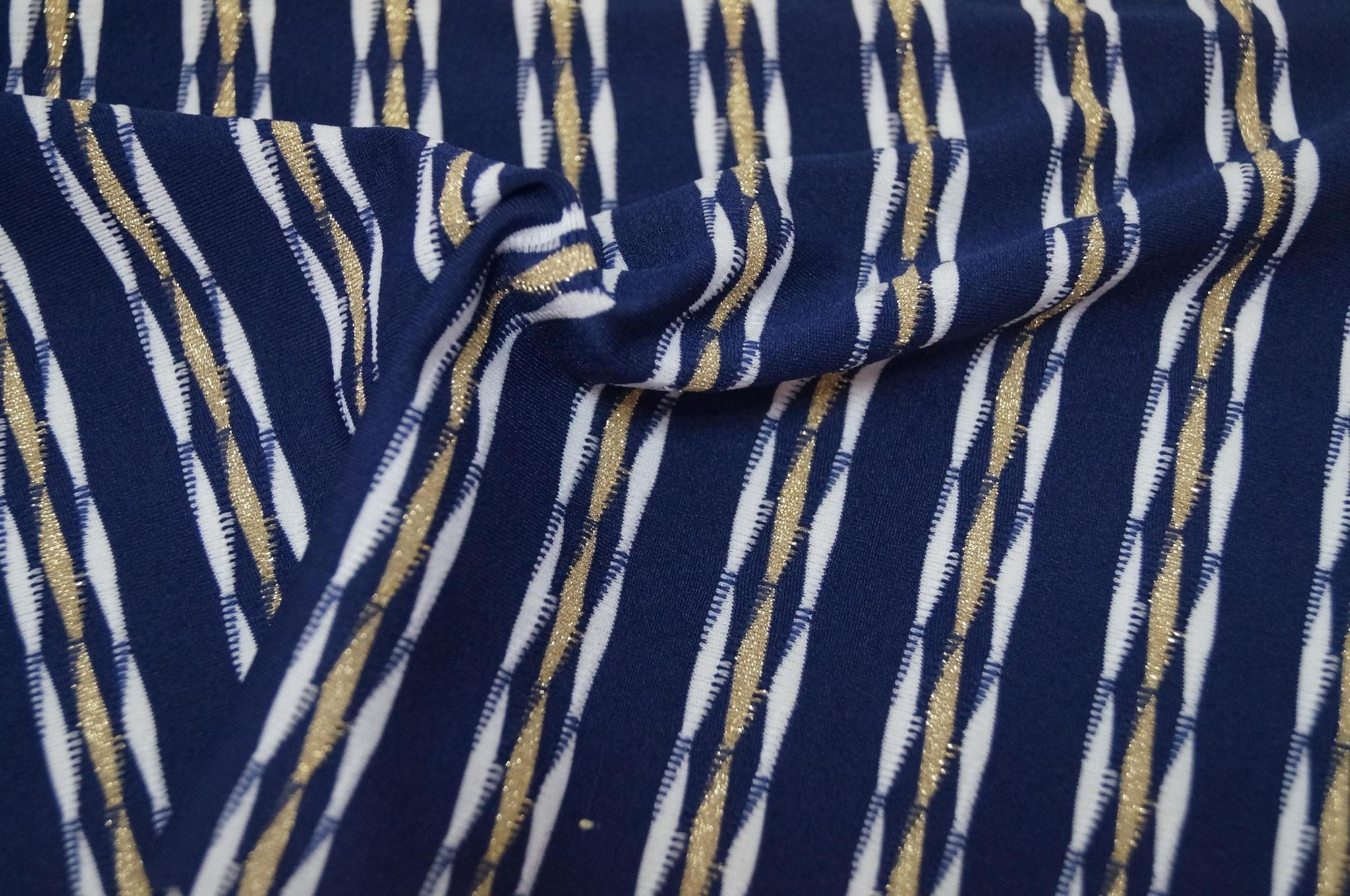 锦纶涤纶金银线色织条子针织弹力拉架面料布 5