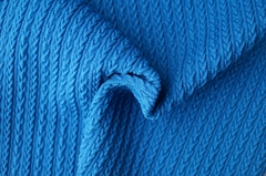 Poly polyester spandex jacquard yarn dyed knitted elastic swimwear fabric