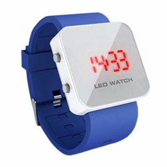 LED Watch with Mirror interface Blue