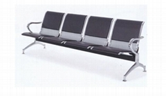 4-Seats Aluminum Alloy China Airport Waiting Chair with Partly Cushion Covered