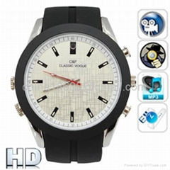Analog Watch with HD Spy Camera & MP3 Player