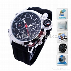 Leather Belt Wrist Watch with Camera, Video Recording, Waterproof Compass