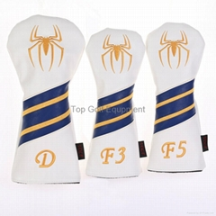 Custom Spiderman Style Leather Golf Driver Fairway Woods Headcover Yellow