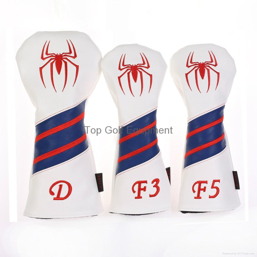 Custom Spiderman Style Leather Golf Driver Fairway Woods Headcover Red 1