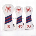Custom Spiderman Style Leather Golf Driver Fairway Woods Headcover Red