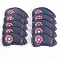 10pcs Captain America Style Thick Synthetic Leather Golf Iron Head Covers  Blue