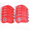 10pcs Captain America Style Thick Synthetic Leather Golf Iron Head Covers Red