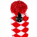Red Diamond Knit Pom Pom Sock Golf Driver Fariway Woods Headcovers