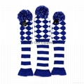 Blue Diamond Knit Pom Pom Sock Golf Driver Fariway Woods Headcovers
