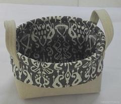 棉麻混纺储物篮