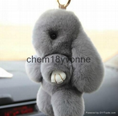 2016 Fashion china real fur made cute monster shape keychain bag charm rabbit fu