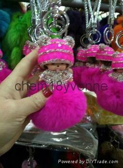 Top quality rabbit fur~~ Wholesale cute rabbit fur keychains for car keys 4