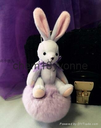 Top quality rabbit fur~~ Wholesale cute rabbit fur keychains for car keys 3