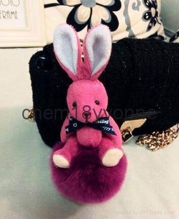 Top quality rabbit fur~~ Wholesale cute rabbit fur keychains for car keys 5