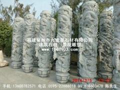 寺廟青石龍柱