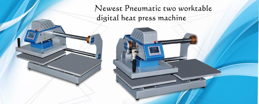 Pneumatic two worktable digital heat press machine for t-shirt 12