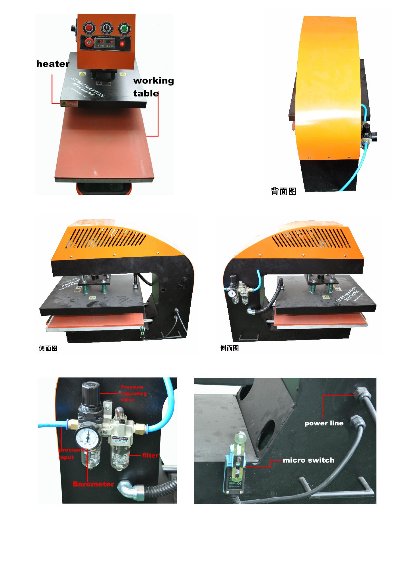 60*80cm YXD-A8 air operated single station heat press machine  14