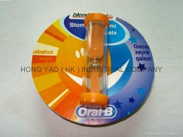 咭纸广告沙漏, 儿童刷牙计时沙漏,  HY770CD 1