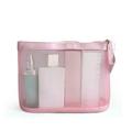 Custom Pink travel mesh cosmetic bag