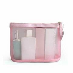 Pink travel mesh cosmetic bag makeup bag