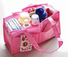 Portable non-woven nylon mummy bag diaper bag
