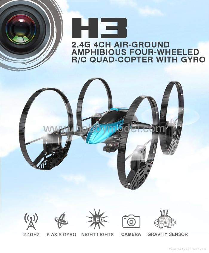 RC Quadrocopter with LED light ,2.4Ghz  RTF version,air & land mode,HD camera  5