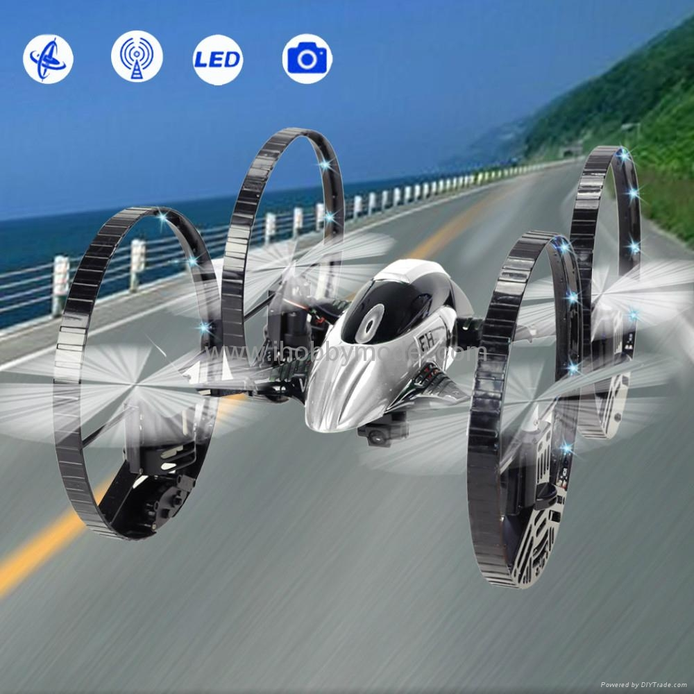 RC Quadrocopter with LED light ,2.4Ghz  RTF version,air & land mode,HD camera  1