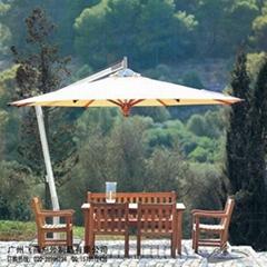帶傘實木桌椅