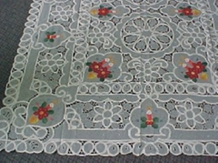 embroideried cutwork tablecloth ,X-Mas