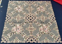 table cloth with embroidery and hand cutwork