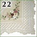 crochet with ribbon embroideried tablecloth