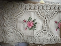 christms  cross stitch tablecloth with embroidery with lace