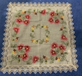 flower  cross stitch tablecloth with embroidery with lace