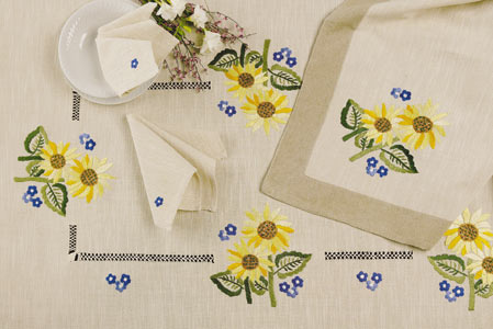 hand embroideried linen tablecloth