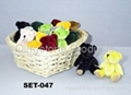 Plush Mini Jointed Bear Asst in Basket