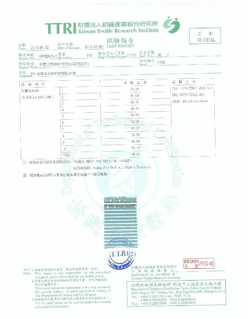N95测试报告