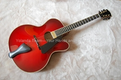 17inch Handmade jazz guitar in red sunburst color