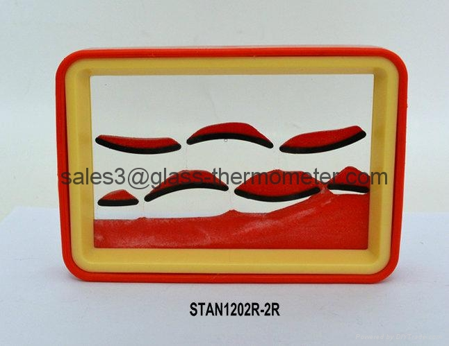Moving sand picture with red wave and frame-STAN1202 1