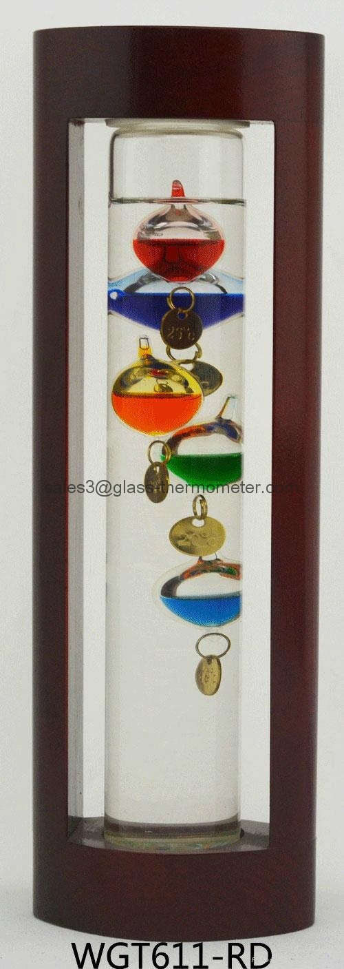 GALILEO THERMOMETER WITH BLUE WOODEN FRAME WGT611  1