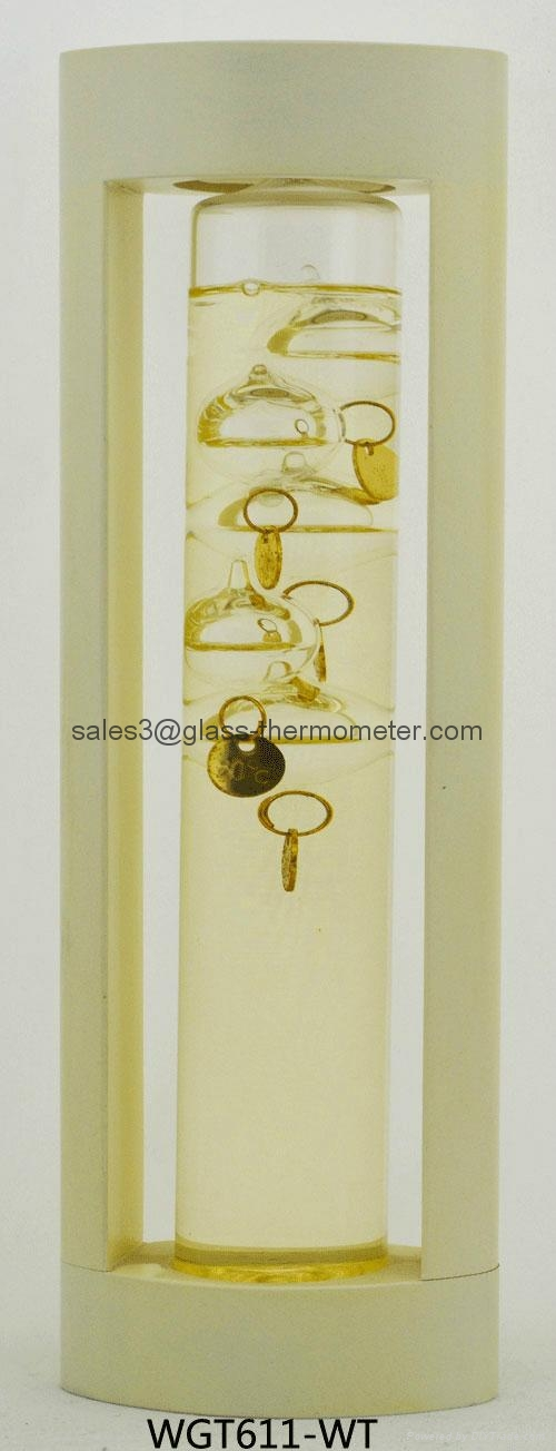 GALILEO THERMOMETER WITH BLUE WOODEN FRAME WGT611  2