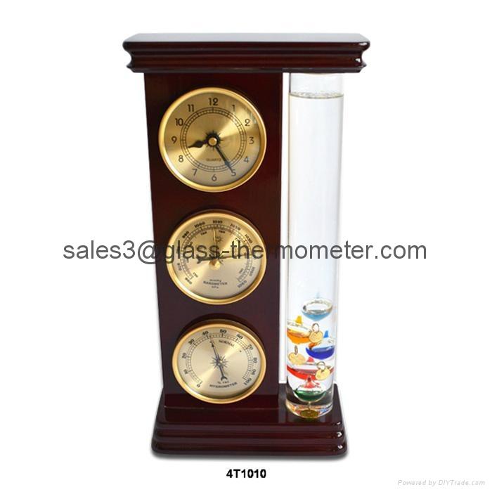 Galileo Thermometer With Barometer,Hygrometer,Clock  4T1010 1
