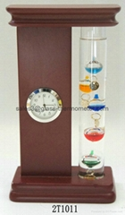 Antique Galileo Thermometer With Clock 2T1011