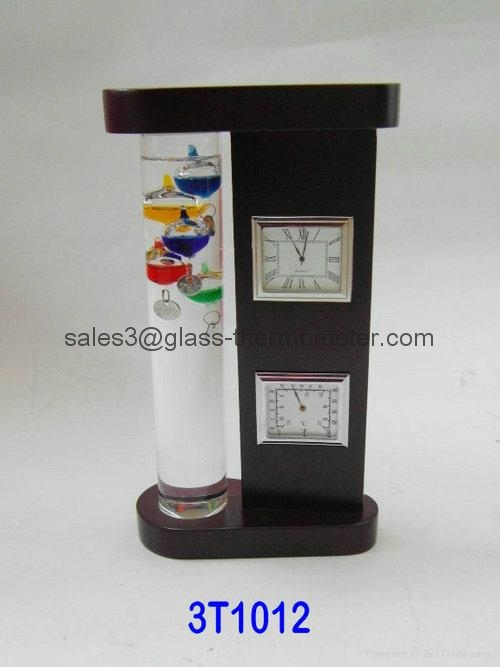 Hand-crafted Wooden Frame Galileo Thermometer  With Clock 3T1012  2